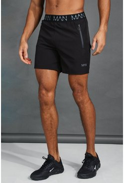 Zwart black MAN Active Shorts met tailleband