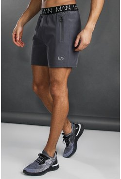 Charcoal grey Man Active Shorts Met Taille Opdruk