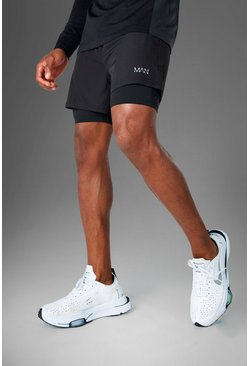 Zwart black Man Active 2-In-1 Shorts