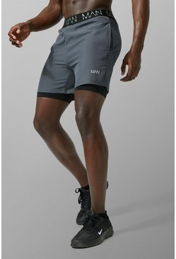 Houtskool grey MAN Actief 2 In 1 Short