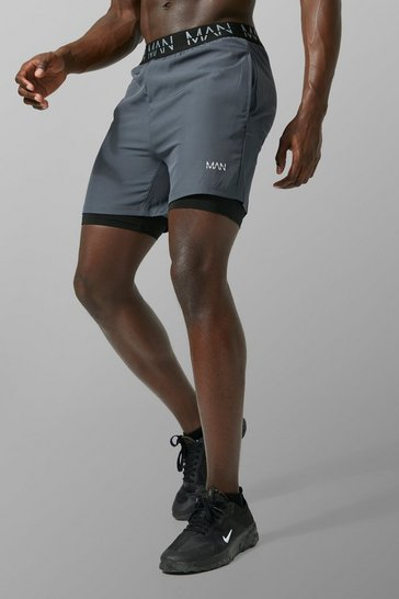 Charcoal grey MAN Active 2 In 1 Shorts
