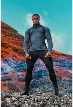 Charcoal grey MAN Active Muscle Fit Panelled Top