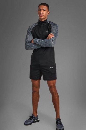 Black MAN Active Funnel Neck Short Set