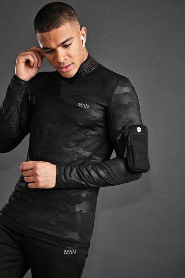 Black MAN Active Fabric Interest Muscle Fit 1/4 Zip Top