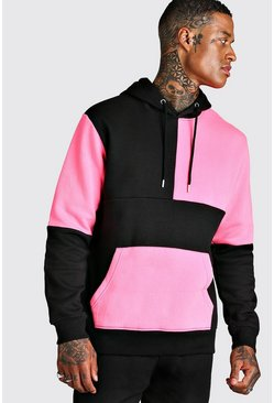 Neon-pink pink Multi Colour Block Hoodie