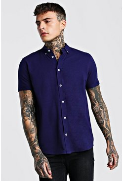 Navy Short Sleeve Regular Collar Pique Shirt