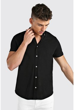 Black Short Sleeve Regular Collar Pique Shirt