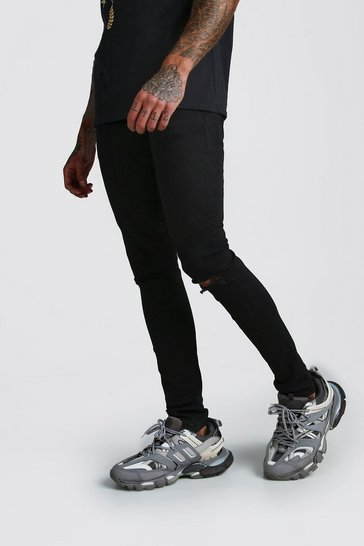 Black Skinny Stretch Jean With Knee Rips