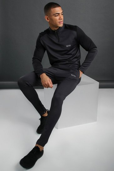 Charcoal grey MAN Active Funnel Neck Reflective Detail Tracksuit