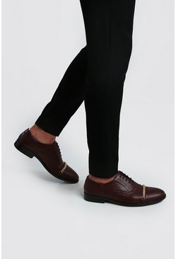 Burgundy Chain Detail Faux Leather Brogue