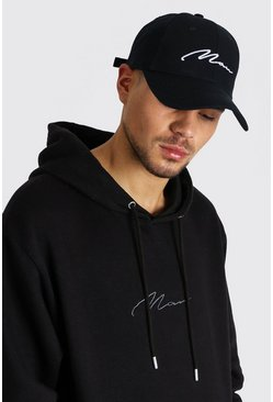 MAN Signature Embroidered Cap, Black negro