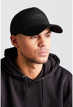 MAN Dash Embroidered Trucker Cap, Black negro