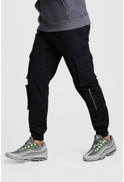 Black Multi Cargo Pocket Cuffed Pants