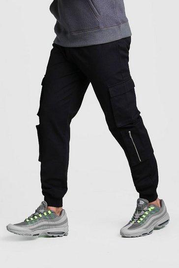 Black Multi Cargo Pocket Cuffed Trouser