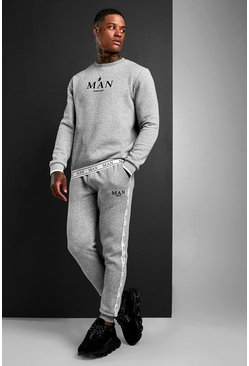 MAN Sweater Tracksuit With Tape Detail, Grey grigio