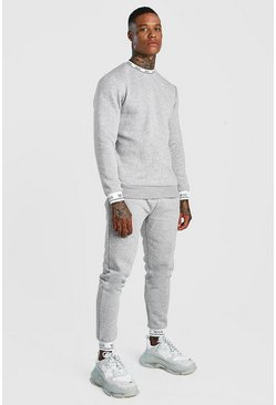 Grey Sweater Tracksuit With MAN Rib