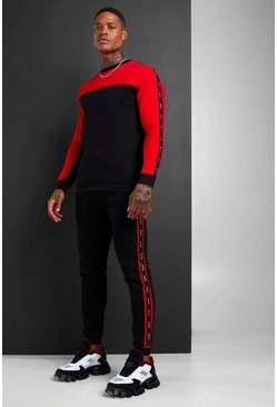MAN Colour Block Sweater Tracksuit With Tape, Black