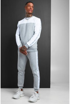 Grey MAN Colour Block Sweater Tracksuit With Tape