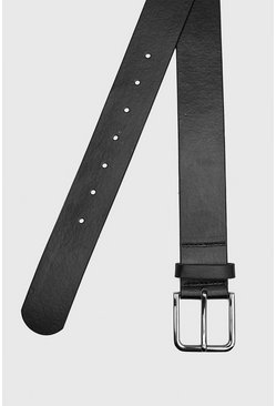 Faux Leather Square Black Buckle Belt