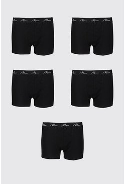 Black Big And Tall 5 Pack MAN Script Boxers