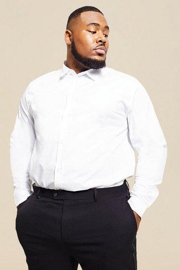 White Plus Size Long Sleeve Cotton Poplin Shirt