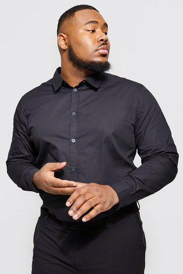 Black Plus Size Long Sleeve Cotton Poplin Shirt
