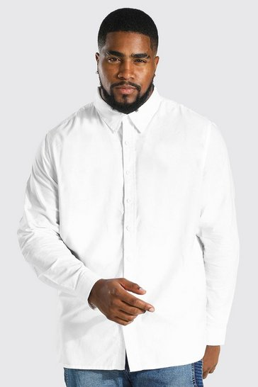 White Plus Size Long Sleeve Oxford Shirt