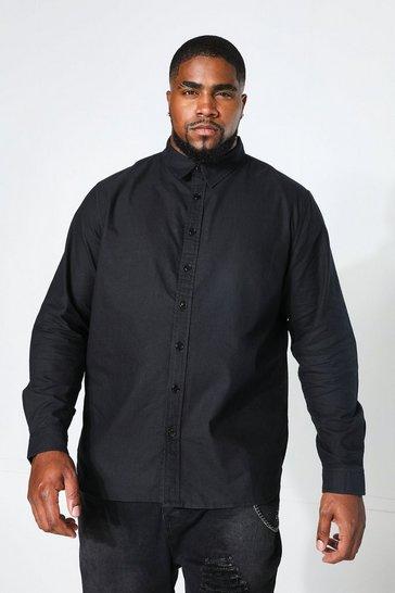 Black Plus Size Long Sleeve Oxford Shirt