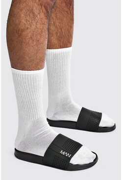 MAN Sport Perforated Sliders, Black negro