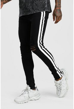 Black Super Skinny Distressed Jean With Painted Stripe