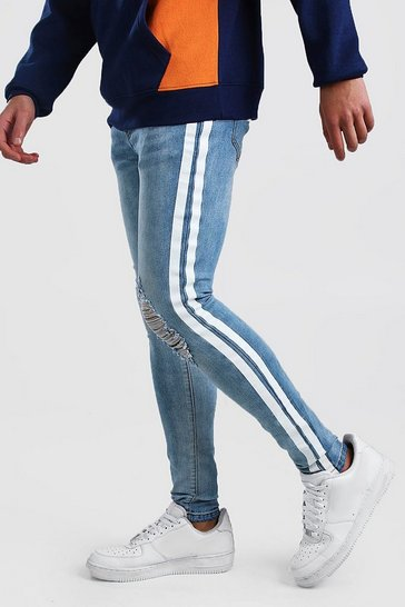 Light blue blue Super Skinny Distressed Painted Stripe Jean