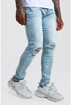Light blue blue Skinny Jeans With Paint Splat & Zip Ankles