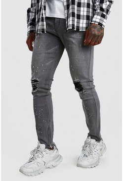 Grey Skinny Jeans With Paint Splat & Zip Ankles