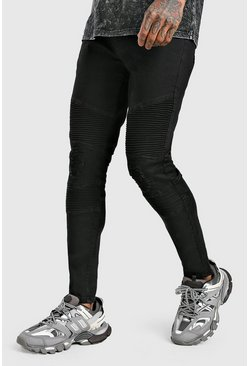 Black Skinny Biker Jean With Rip & Repair
