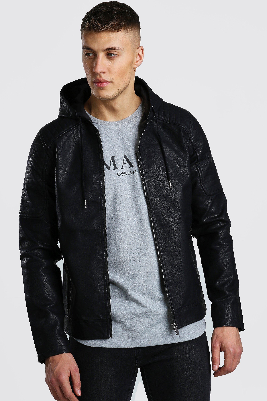 Men S Faux Leather Hooded Biker Jacket Boohoo Uk