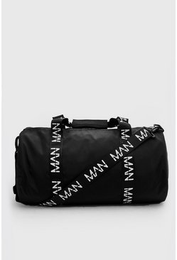 Black MAN Printed Strap Barrel Bag
