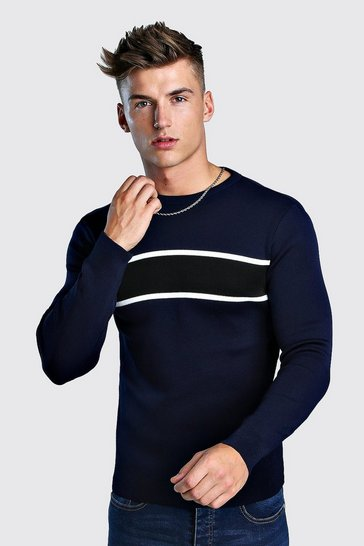 Navy Smart Muscle Fit Colour Block Jumper
