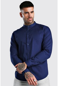 Navy Grandad Collar Long Sleeve Cotton Poplin Shirt