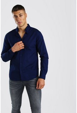 Navy Long Sleeve Cotton Poplin Shirt