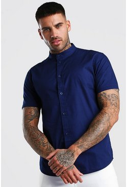Navy Short Sleeve Grandad Collar Cotton Poplin Shirt