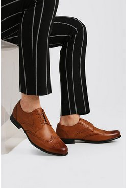 Tan brown Faux Leather Brogue