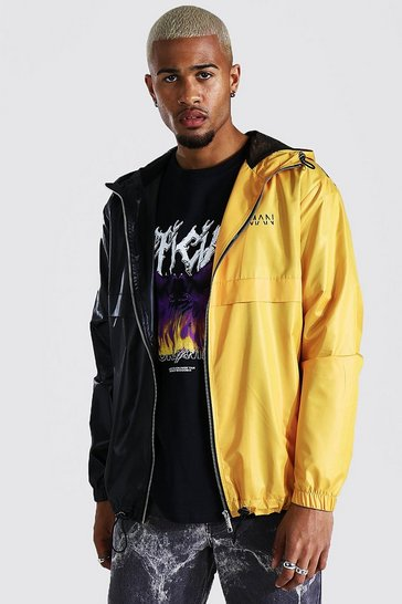 Yellow Half And Half Cagoule With Chest Branding
