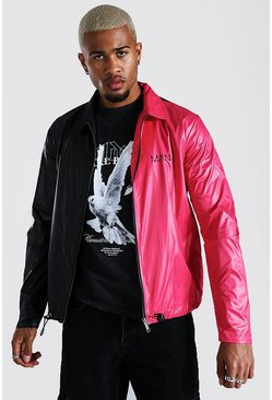 Red Half And Half Coach Jacket With Chest Print