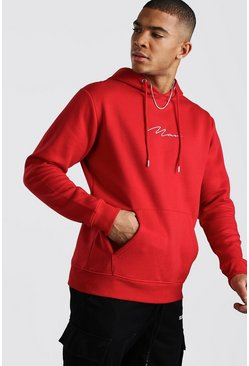 Fire red red MAN Signature Embroidered Hoodie