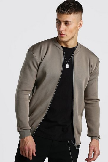 Taupe beige Smart Knitted Bomber