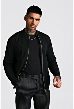 Black Smart Knitted Bomber
