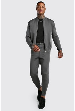 Charcoal grey Smart Knitted Bomber & Jogger Set