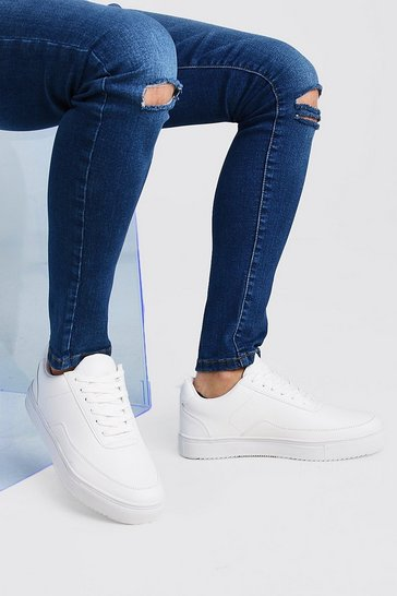 White Smooth Leather Look Trainer