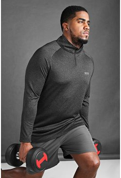 Black Plus Size MAN Active Raglan Top