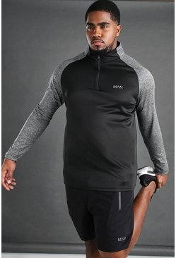 Black Plus Size Man Sport Raglan Top